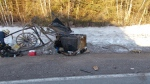 The wreckage of a horse-drawn buggy is shown following a collision with a vehicle near New Perth, P.E.I., in this March 20, 2019 handout photo. Police say a teenager has been charged with failing to properly clear the windshield of his pickup truck after colliding with a horse-drawn buggy in Prince Edward Island.The RCMP say the crash happened yesterday morning on Route 22 in the New Perth area. (THE CANADIAN PRESS/HO - RCMP)