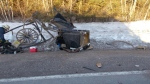 The wreckage of a horse-drawn buggy is shown following a collision with a vehicle near New Perth, P.E.I., in this March 20, 2019 handout photo. THE CANADIAN PRESS/HO - RCMP