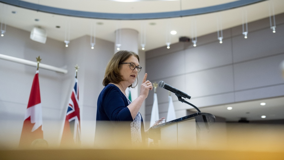 Liberal MP Jane Philpott, delivers a keynote speech at an International Women's Day event at Ottawa City Hall on Friday, March 8, 2019. THE CANADIAN PRESS/Justin Tang