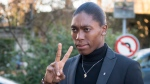 South Africa's runner Caster Semenya, current 800-meter Olympic gold medalist and world champion, arrives for the first day of her hearing at the international Court of Arbitration for Sport, CAS, in Lausanne, Switzerland, Monday, Feb. 18, 2019. (Laurent Gillieron/Keystone via AP)