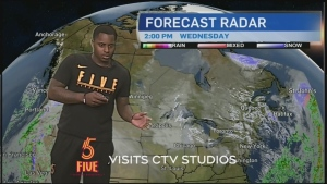 Members of the Sudbury Five basketball team try their hands at weather reporting with funny results.