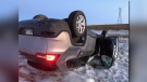 Police said the SUV rolled, and its driver, a 40-year-old Portage la Prairie man, was taken to hospital with non-life-threatening injuries. (Source: Manitoba RCMP/Twitter).