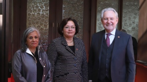 Recently-appointed Senator Rosemary Moodie (centre) poses for a photograph with Senator Ratna Omidvar (left)and Senator Peter Harder (left)outside the Senate Chamber in Ottawa on Tuesday February 19, 2019. THE CANADIAN PRESS/Fred Chartrand