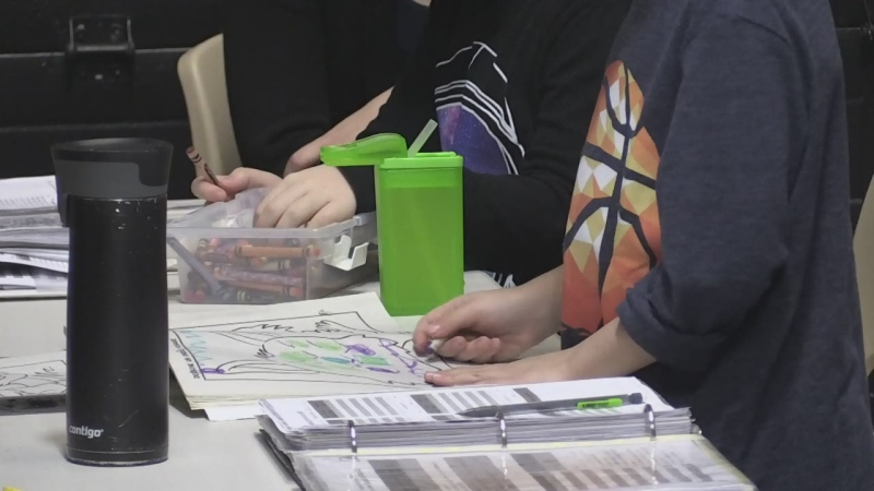 Children with autism are in a therapy session at Barrie's IBI Behavioural Services on Thurs., March 21, 2019 (CTV News/Rob Cooper)