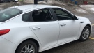 A car seen with its windows smashed. (Dan Lauckner / CTV Kitchener)