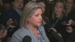 Andrea Horwath speaks with reporters on March 21, 2019.