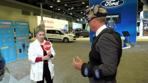 Sleep expert Alena Krizek demonstrates Ford's Sleep Suit to illustrate the dangers of drowsy driving.