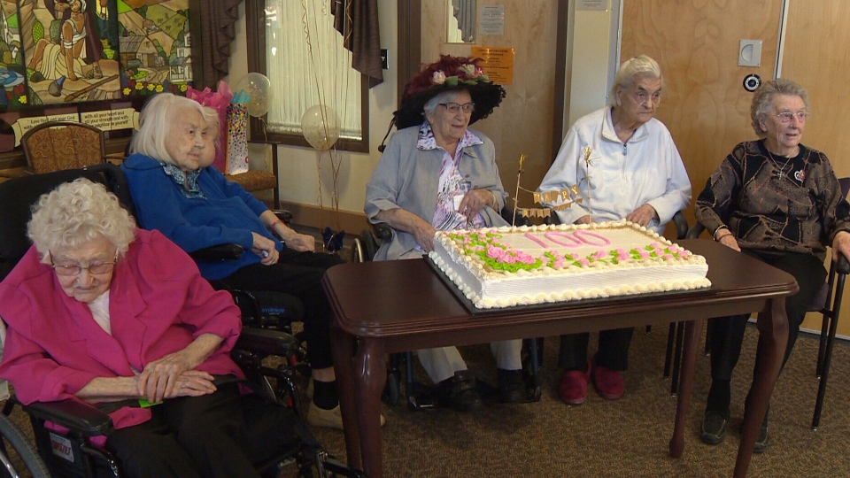 Five of the seven women at an Alberta nursing home over 100 gathered to celebrate on Thursday, March 21, 2019.