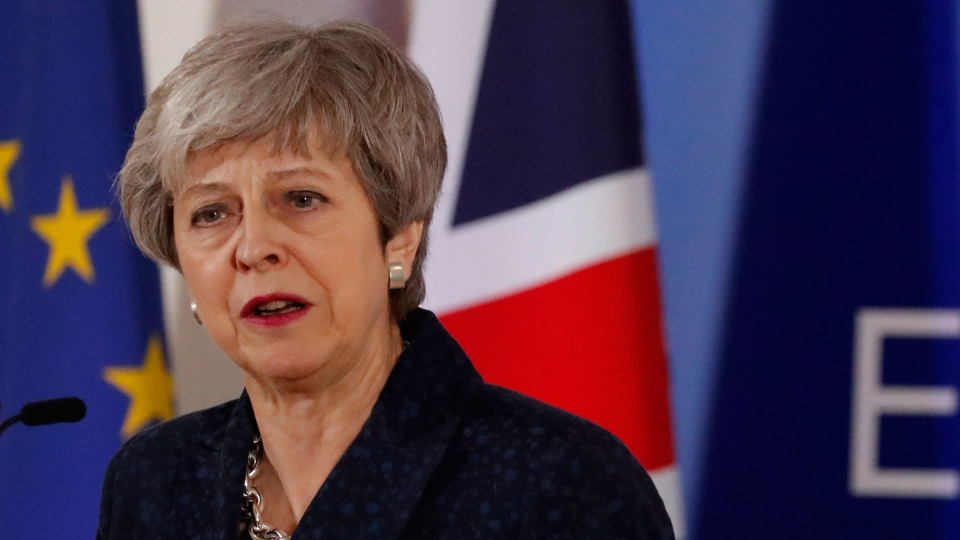 British Prime Minister Theresa May speaks during a media conference at an EU summit in Brussels, Friday, March 22, 2019. (AP / Frank Augstein)