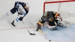 Vegas Golden Knights goaltender Malcolm Subban blocks a shot by Winnipeg Jets defenseman Ben Chiarot during the second period of an NHL hockey game Thursday, March 21, 2019, in Las Vegas. (AP Photo/John Locher)