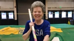 "In this Thursday, March 13, 2019 photo, Florence ""Flo"" Filion Meiler, an 84-year-old record-setting pole vaulter, poses while training at the University of Vermont indoor track in Burlington, Vt. (AP Photo/Lisa Rathke)"