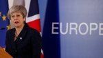 British Prime Minister Theresa May speaks during a media conference at an EU summit in Brussels, Friday, March 22, 2019. (AP Photo/Frank Augstein)