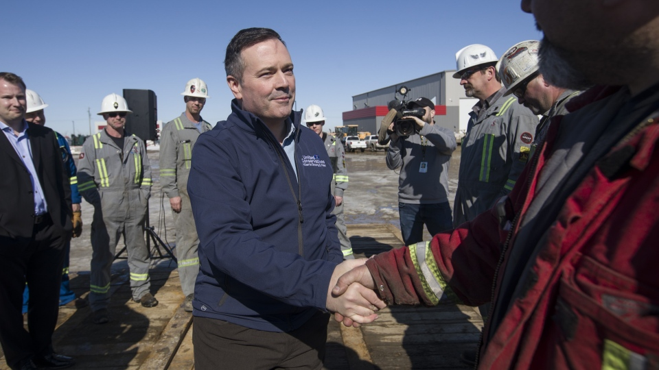 Alberta UCP leader Jason Kenney speaks with workers at Total Energy Services in Leduc Alta. on Tuesday, March 19, 2019. THE CANADIAN PRESS/Amber Bracken