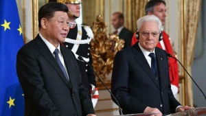 Chinese President Xi Jinping and Italian President Sergio Mattarella at the Quirinale Presidential Palace, in Rome, on March 22, 2019. (Alessandro Di Meo / Pool Photo via AP)