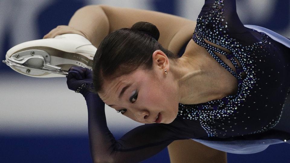 Elizabet Tursynbaeva during the ladies short program in the ISU World Figure Skating Championships, on March 20, 2019. (Andy Wong / AP)
