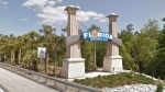A welcome to Florida sign is seen in this image from Google Maps.