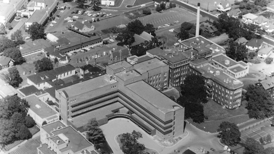 A 1963 aerial photo of the Royal Jubilee Hospital in Victoria, B.C. from around the period when Sharon Pedersen gave birth (Source: City of Vancouver archives)