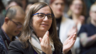 Morgane Oger applauds during an announcement at the Vancouver General Hospital in Vancouver, B.C. Friday, Nov. 16, 2018. The Vancouver-based Morgane Oger Foundation has issued a call for volunteers to help build the Canadian Atlas of Populist Extremism, to be known as CAPE. (THE CANADIAN PRESS /Jonathan Hayward)
