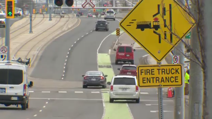 Cyclists are concerned over the safety of a bike lane on Northfield Drive West.