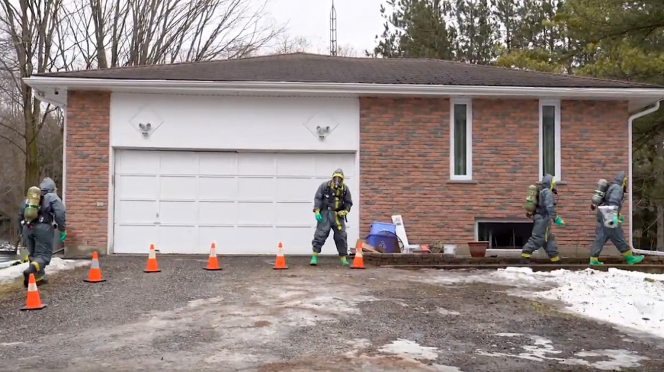 In video provided by York Regional Police, Investigators comb through an East Gwillimbury home in connection with a meth lab investigation.
