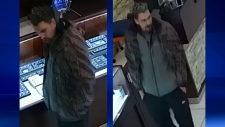 Calgary police are looking for this man, wanted in connection with a theft from Paris Jewellers in Market Mall. (Supplied)
