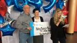 Kathryn Martell and Ron Jordan picked up their $1 million cheque from Atlantic Lottery on Friday, to the delight of family and friends.