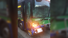 A bus being transported from Minnesota to Vancouver crashed on the I-90 Friday morning in Washington state. The driver of the other vehicle was killed. (Twitter/Trooper Rick Johnson)