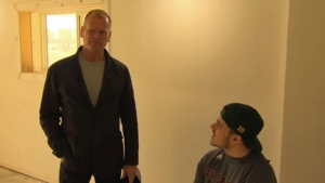 Mike Holmes meets Ryan Straschnitzki for the first time Friday inside the family's newly renovated Airdrie home