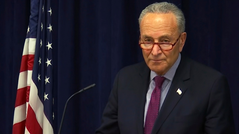 In this image made from video, Sen. Charles Schumer, D-NY, addresses the media in New York, Friday, March 22, 2019. (AP Photo/David R. Martin)