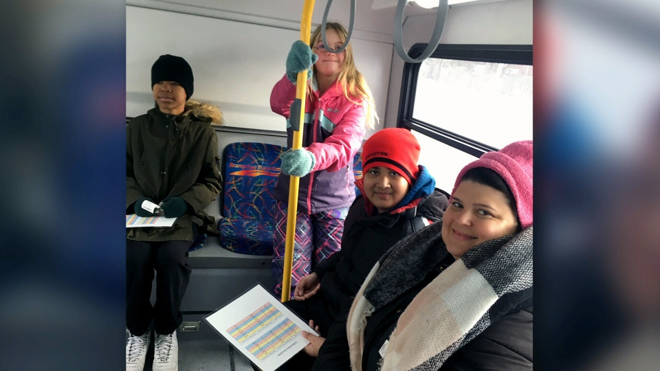 Katelyn Marciniak's Grade 8 class takes the bus to the grocery store.