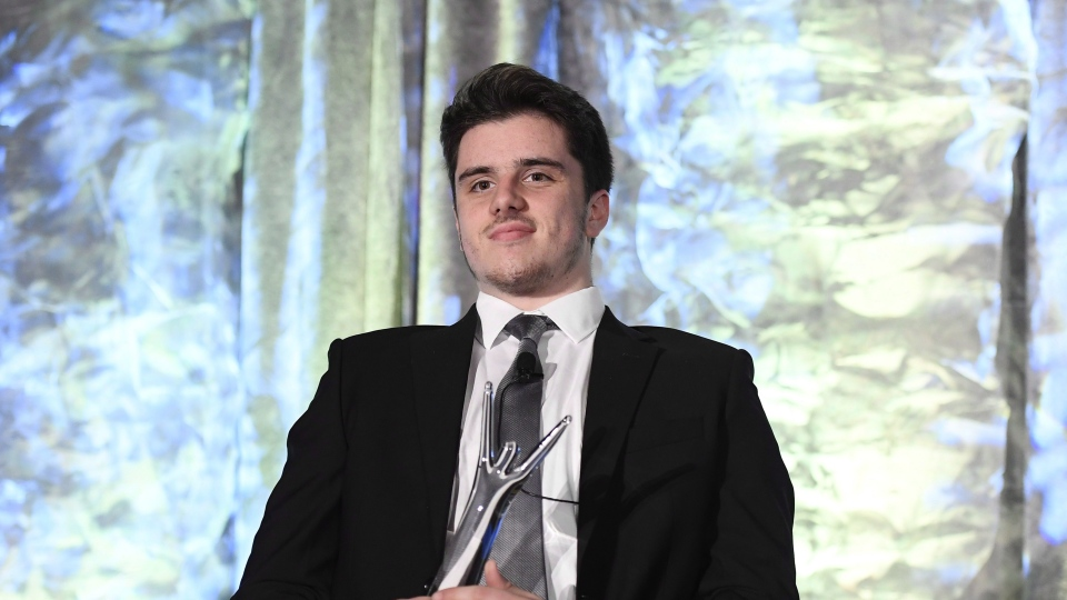 Humboldt Broncos survivor Ryan Straschnitzki receives an honourary Canadian Sport Award on behalf of the Broncos team during the Canadian Sport Awards in Ottawa on September 20, 2018. (THE CANADIAN PRESS/Justin Tang)
