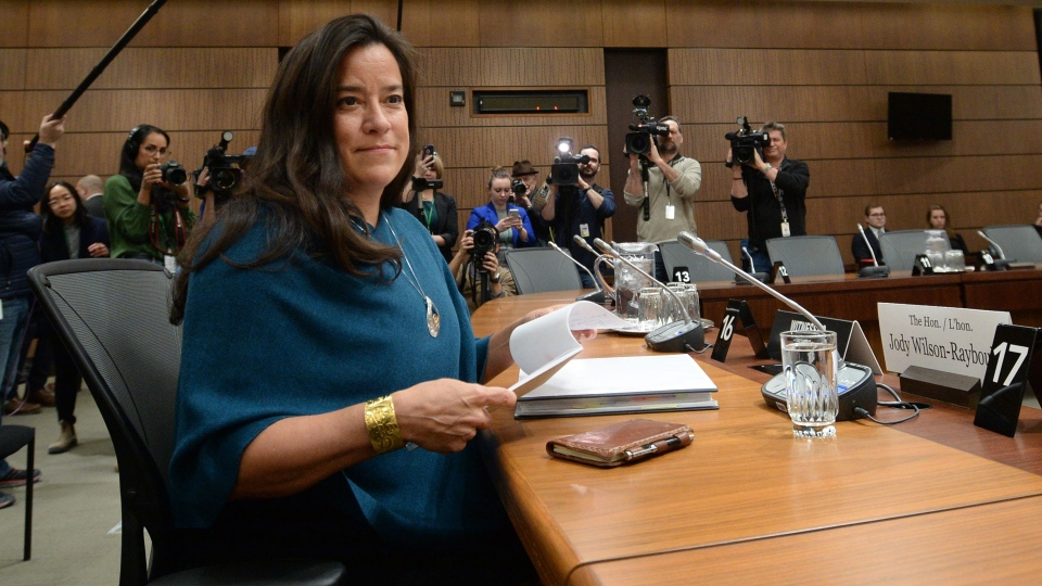 Former attorney general Jody Wilson-Raybouldappears at the House of Commons Justice Committee on Parliament Hill in Ottawa on Wednesday, Feb. 27, 2019. (THE CANADIAN PRESS / Sean Kilpatrick)