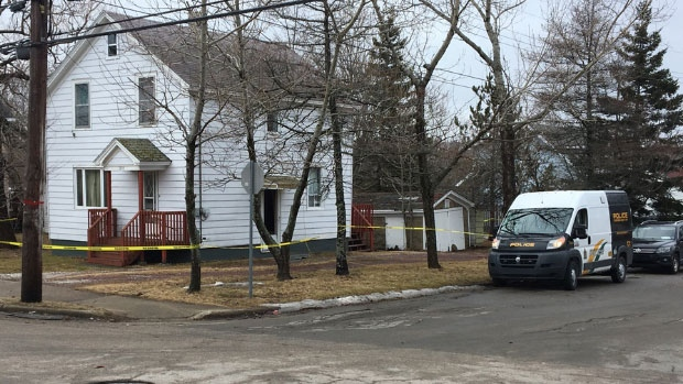 Cape Breton Regional Police investigate a suspicious death at a residence on Terrace St. in Sydney in March 2019.