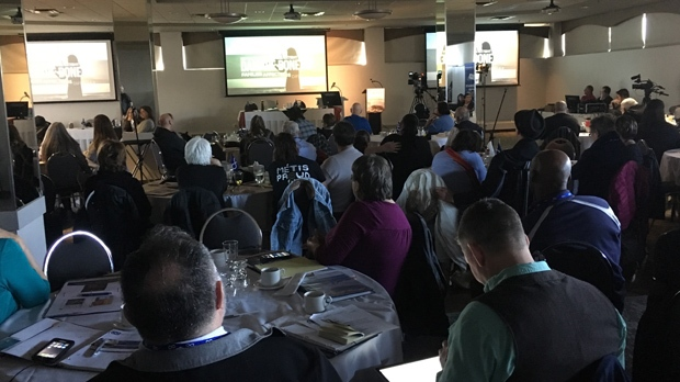 The sessions are meant to help guide what people want to see in the reconciliation process.They are being held at Clarion Hotel & Suites on Portage Avenue Saturday and Sunday. (Credit: Beth Macdonell/CTV Winnipeg)