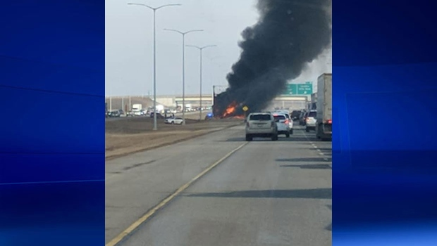 Police have closed down a section of Stoney Trail because of a serious crash. (Photo: Krista O'neil)