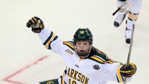 Clarkson forward Loren Gabel reacts after scoring in the second period during an NCAA college Division I Women's Frozen Four semifinal against Minnesota, Friday, March 17, 2017, in St. Charles, Mo. (THE CANADIAN PRESS/AP-Chris Lee/St. Louis Post-Dispatch via AP)