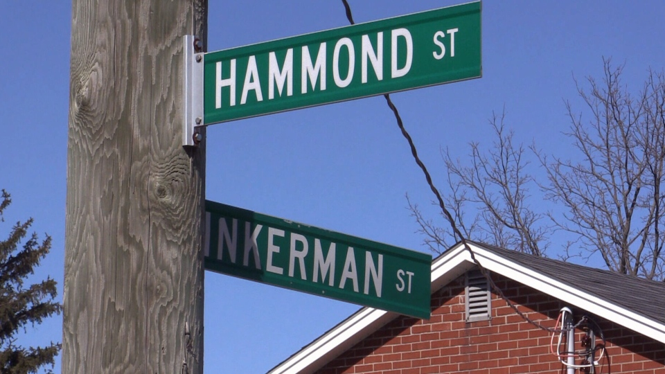 Image of the Hammond Street and Inkerman Street intersection in St. Thomas, Ont. A victim alleged he was able to escape confinement through a basement window on Inkerman St.