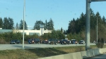 A police incident on Highway 1 in Langley. Courtesy: Denise Scarborough