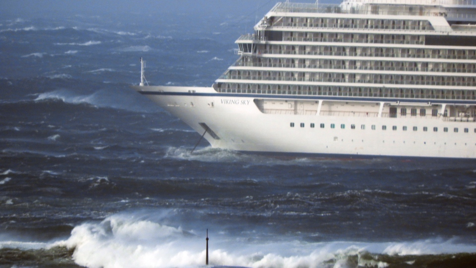 The cruise ship Viking Sky lays at anchor in heavy seas, after it sent out a Mayday signal because of engine failure in windy conditions, near Hustadvika, off the west coast of Norway, Saturday March 23, 2019. (Frank Einar Vatne / NTB scanpix via AP)