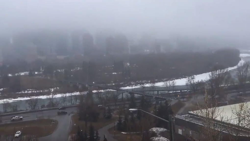 Fog envelops Calgary and a number of other communities in southern Alberta
