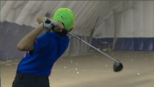 Andy Mac, 11, practices his golf swing. In April, he will be competing in a prestigious competition at the Augusta National Golf Club. (CTV Montreal)