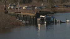 Halifax District RCMP say a man is dead after a dump truck went into the Partridge River late Saturday afternoon.