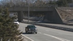 A New Brunswick couple says rocks were thrown at their truck from this Saint John overpass.