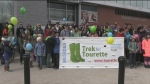 Runner lace up in support of Tourette