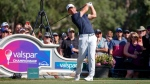 Paul Casey tees off on the 14th hole during the final round of the Valspar Championship golf tournament Sunday, March 24, 2019, in Palm Harbor, Fla. (AP Photo/Mike Carlson)