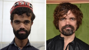 Pakistani waiter Rozi Khan posing for a photograph at Dilbar Hotel in Rawalpindi and U.S. actor Peter Dinklage. (Aamir QURESHI, Chris DELMAS / AFP)