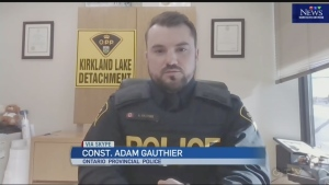 OPP Constable Adam Gauthier in Kirkland Lake on two violent incidents from the weekend, including a homicide.