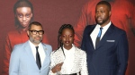 "Director Jordan Peele, from left, Lupita Nyong'o and Winston Duke attend the premiere of ""Us"" at the Museum of Modern Art on Tuesday, March 19, 2019, in New York. (Photo by Greg Allen/Invision/AP)"