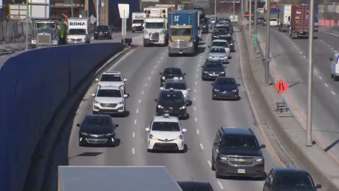 Taxi drivers on Highway 20 east slowed traffic to protest Bill 17.
