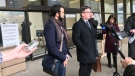 Omar Khadr addresses media on Monday, March 25, 2019, after a judge ordered his eight-year sentence had been served.